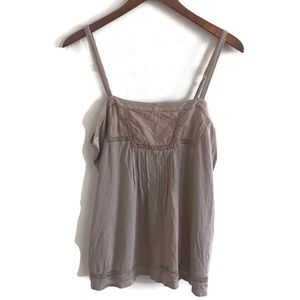 Susina Beige Tank Top With Lace